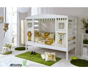 Hausbett Etagenbett : Etagenbett josh massivholz kiefer weiß lackiert cm