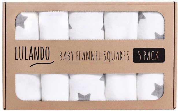 Lulando Baby Flannel Squares 5 Pack (70x80cm) Stars White/Grey