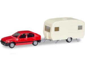 Herpa MiniKit: Opel Kadett E GLS mit Wohnanhänger