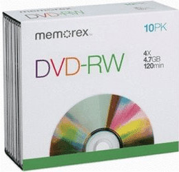 Image of Memorex DVD-RW 4,7GB 120min 4x 10pk Slim Case