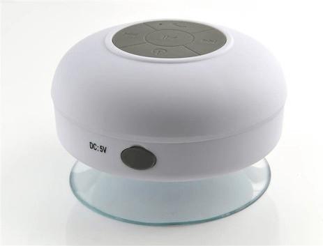 iProtect Bluetooth Badezimmer Lautsprecher wasserdicht mit Saugnapfhalterung weiß