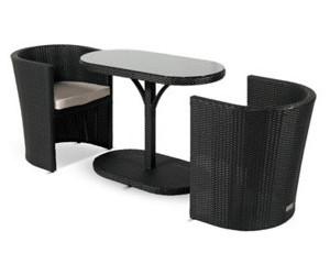 Hartman Continental Polyrattan-Sitzgruppe schwarz (Tisch + 2 Sessel ...