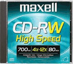 Image of Maxell CD-RW 700MB 80min 12x 1pk Jewel Case
