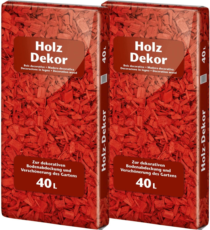 Floragard Holzdekor Mulch 0-30mm 2x40L (80 L) rot