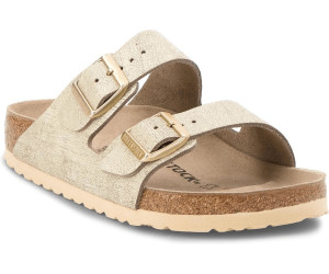 d45aa89358d5e6 Birkenstock Arizona Velours washed metallic cream gold