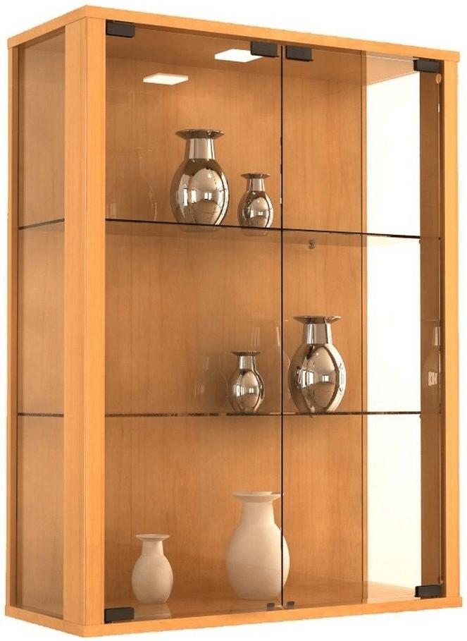 VCM Udina Glasvitrine mit Beleuchtung  Buche | Wohnzimmer > Vitrinen > Glasvitrinen | Holzfarben | Glas - Buche