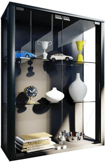 VCM Udina Glasvitrine mit Beleuchtung schwarz | Wohnzimmer > Vitrinen > Glasvitrinen | Schwarz | Glas