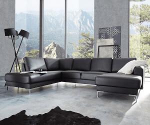 Delife Designer Wohnlandschaft Silas 300x200 Schwarz Ottomane Links