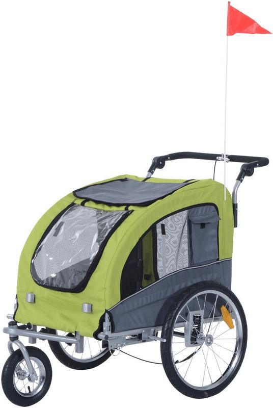 Pawhut 2-in-1 Fahrradanhänger für Hunde (grün/grau)