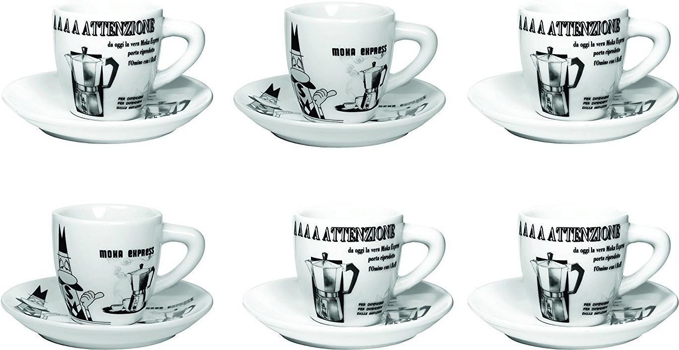 Bialetti Espressotassen-Set 6 Stück schwarz/ weiß