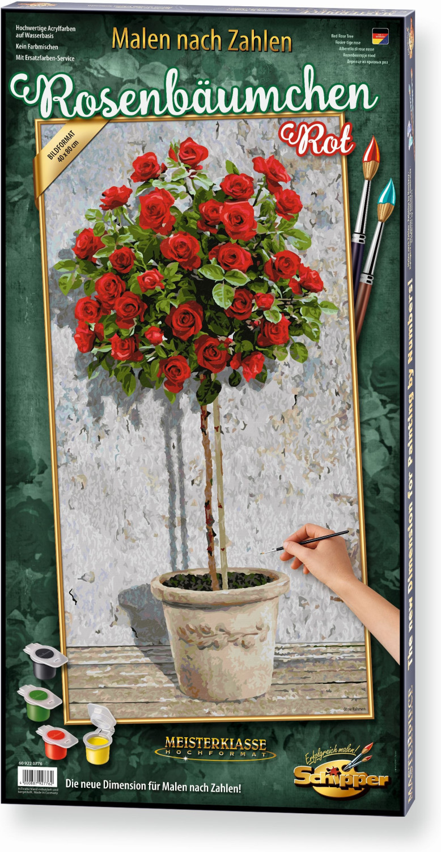 Noris Malen nach Zahlen Rosenbäumchen rot