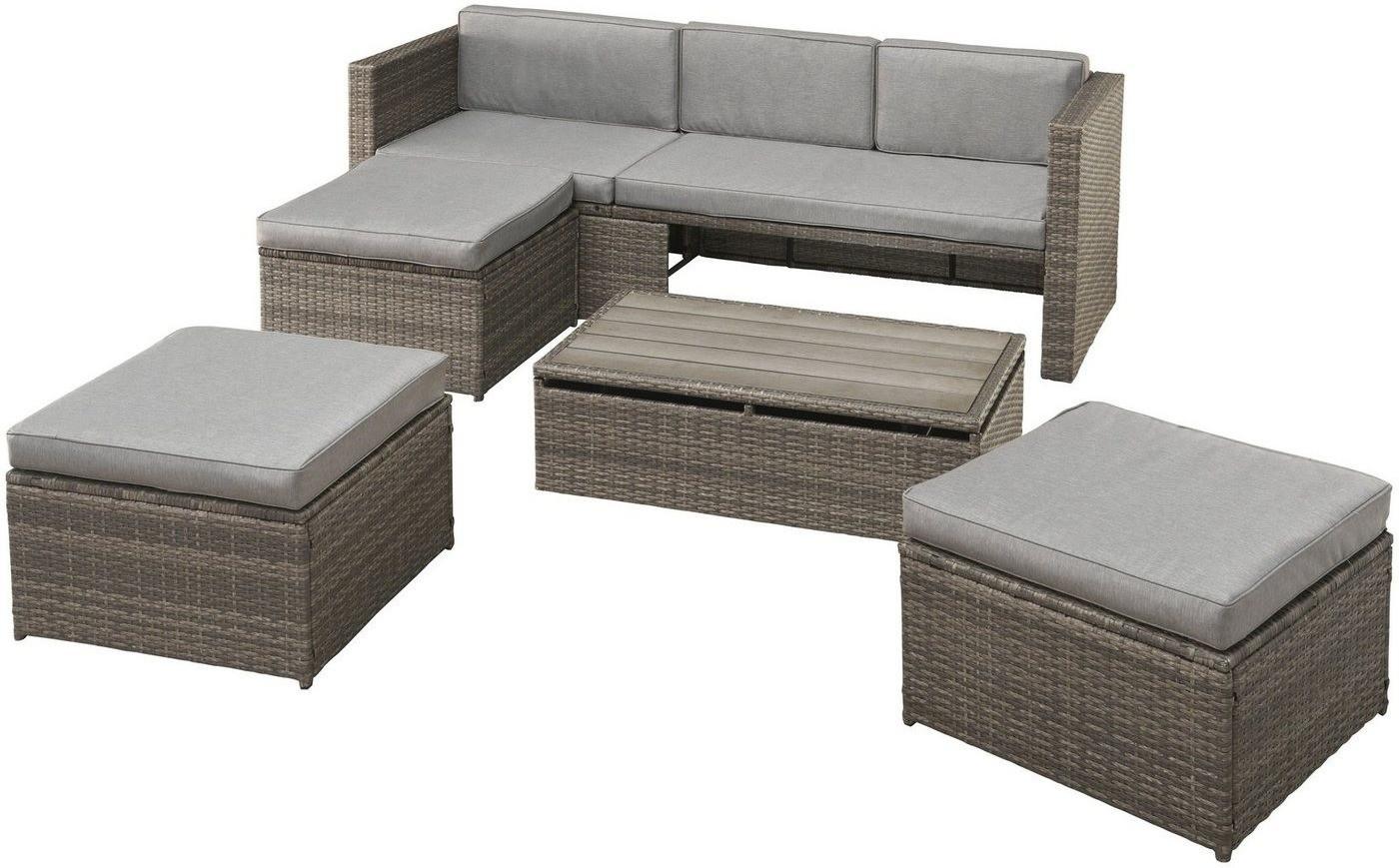 Baumarkt Direkt Lagos Premium 13 Tlg 3er Sofa 3 Hocker Tisch