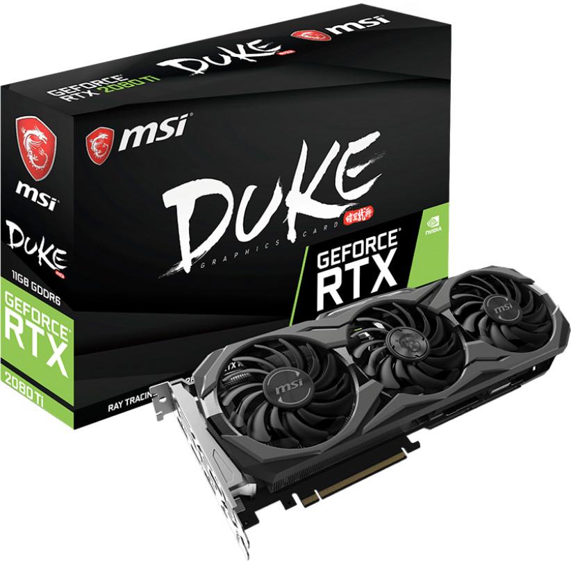 MSI GeForce RTX 2080 Ti DUKE 11G OC - Tarjeta gráfica Enthusiast (PCI-E 3.0, Torx Fan 2.0, Zero FROZR, 11 GB GDDR6, 352-bit, 4352 Core Units, 1350 Mhz