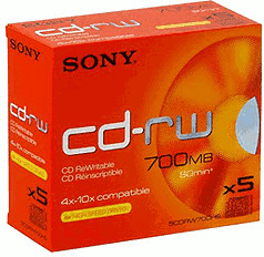 Sony CD-RW 700MB 80min 10x 5er Jewelcase