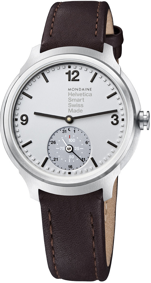Image of Mondaine Helvetica 1 Smartwatch silver Leather brown