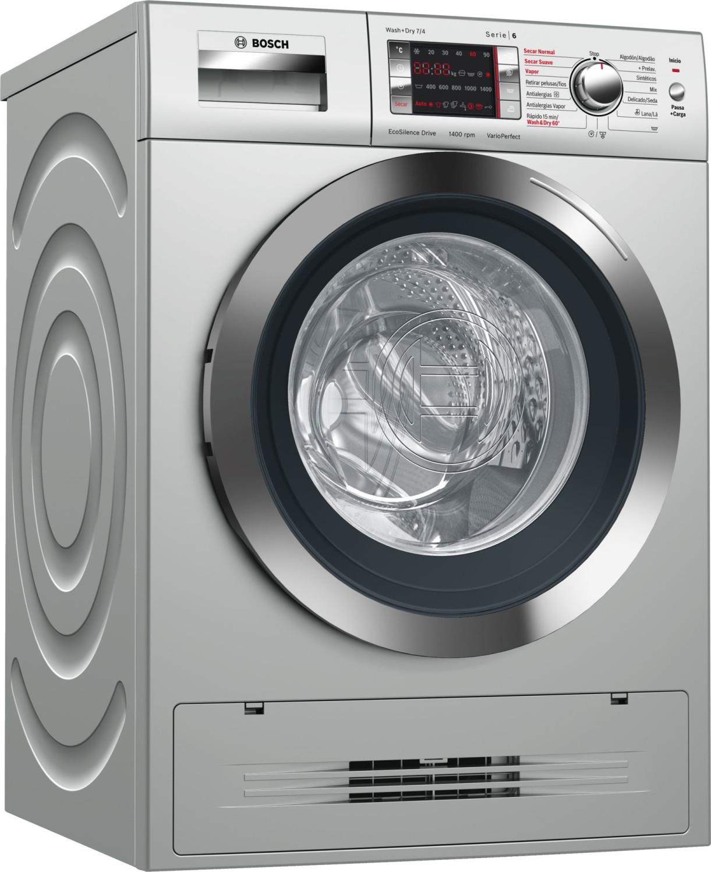 Bosch Serie 6 WVH2849XEP Independiente Carga frontal A Acero inoxidable lavadora - Lavadora-secadora (Carga frontal, Independiente, Acero inoxidable,