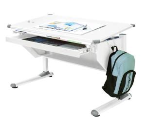 Kinderschreibtisch Schülerschreibtisch VARIANT weiß verstellbar mit Schublade