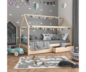 VICCO Hausbett WIKI 70x140cm Zaun Natur Kinderbett Kinderhaus Kinder Bett Holz