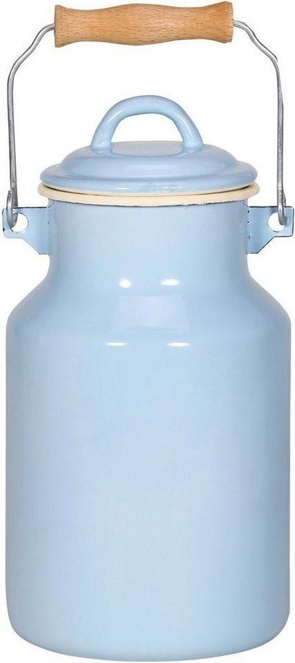 Krüger Milchkanne Emaille 2 l blau