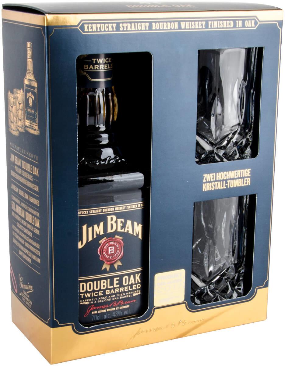 Jim Beam Double Oak 0,7l 43% Geschenkset mit  Kristalltumbler
