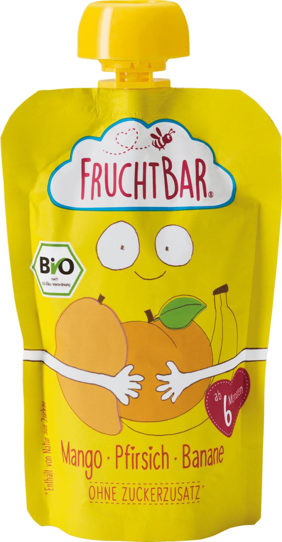 Frucht Bar Bio Fruchtpüree Pfirsich-Mango-Banane (100 g)
