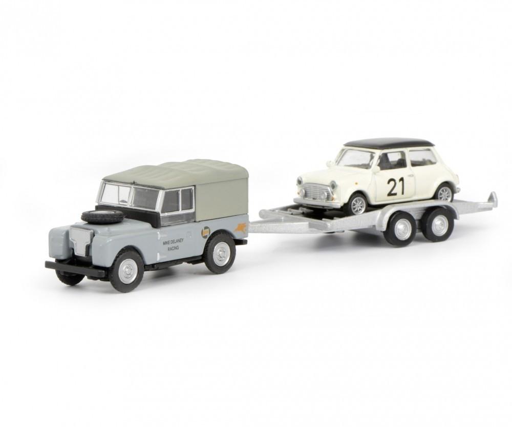 Schuco Land Rover I mit Autoanhänger und Mini, 1:87 (632700)
