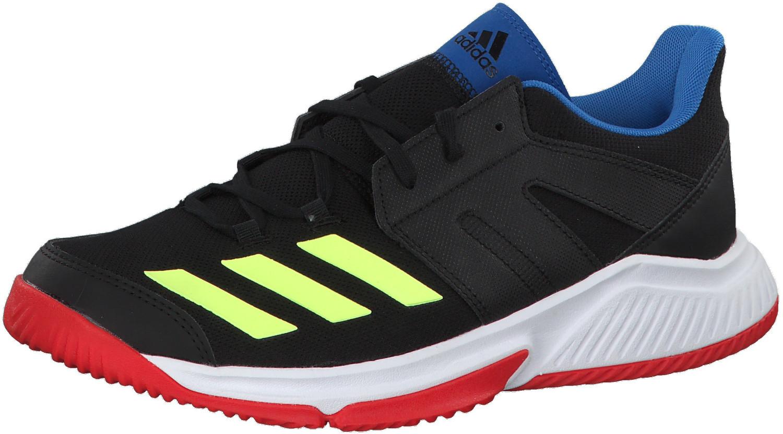 adidas Essence, Zapatillas de Balonmano para Hombre, Negro Core Black/Hi/Res Yellow/Active Red, 47 1/3 EU