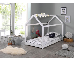 "Kinderbett Tipi-Bett Vipack Kiefer massiv Weiß Hausbett 90 x 200 /""CABANE/"""