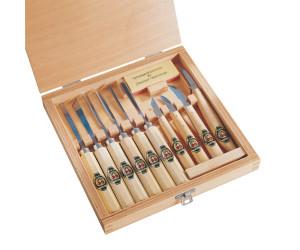 Kirshen 3441000 Jeu de 11 outils de sculpture avec manche en charme N/° 3441 Multicolore