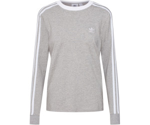 Adidas Damen 3 Streifen Longsleeve medium grey heather