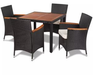 Vidaxl Garten Essgruppe 9 Tlg Holz Tischplatte Schwarz Poly Rattan