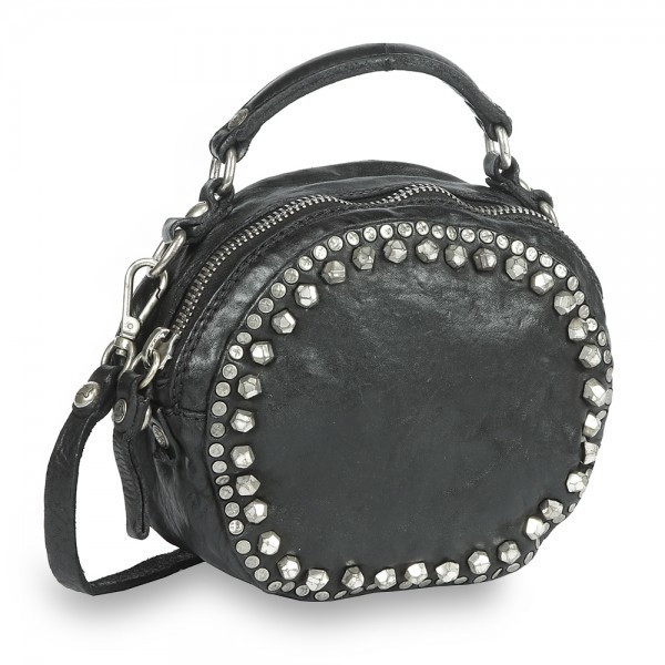 Campomaggi Round Bowling Bag (C007260ND) black leather and matera studs