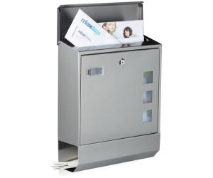 BONADE Wandmontage Briefkasten aus Edelstahl mit Zeitungsrolle Anthrazit Postkasten mit Zeitungsfach Gro/ß Wandbriefkasten Mailbox Letterbox mit Beobachtungsfenster und Sicherheitsschloss