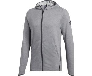 Adidas Essentials 3 Streifen Kapuzenjacke Dunkel Grau
