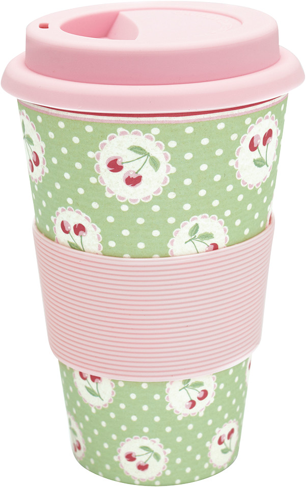 Greengate Cherry Berry Becher to go pale green 14 cm