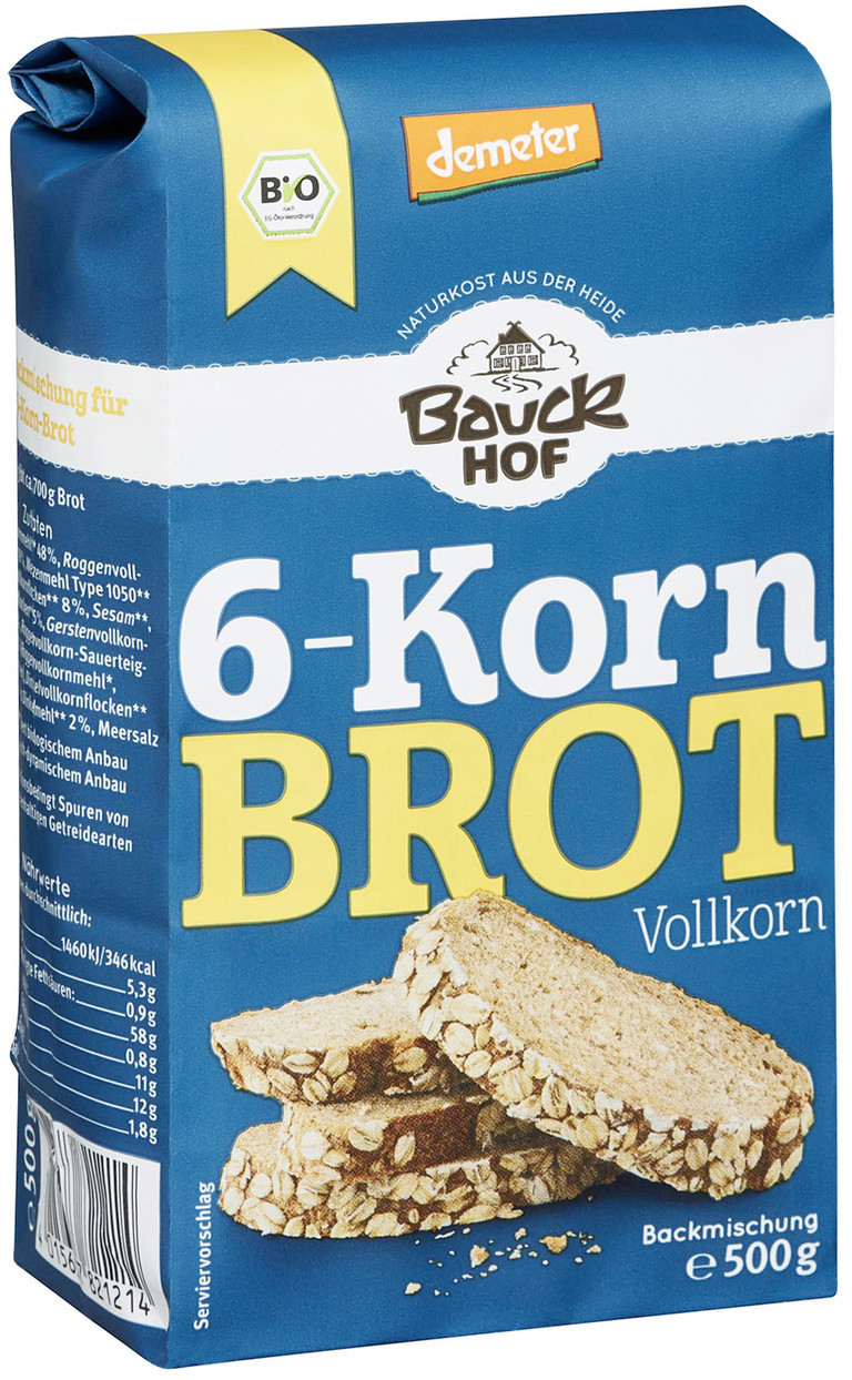 Bauckhof Bio Demeter 6-Korn Brot (500g)