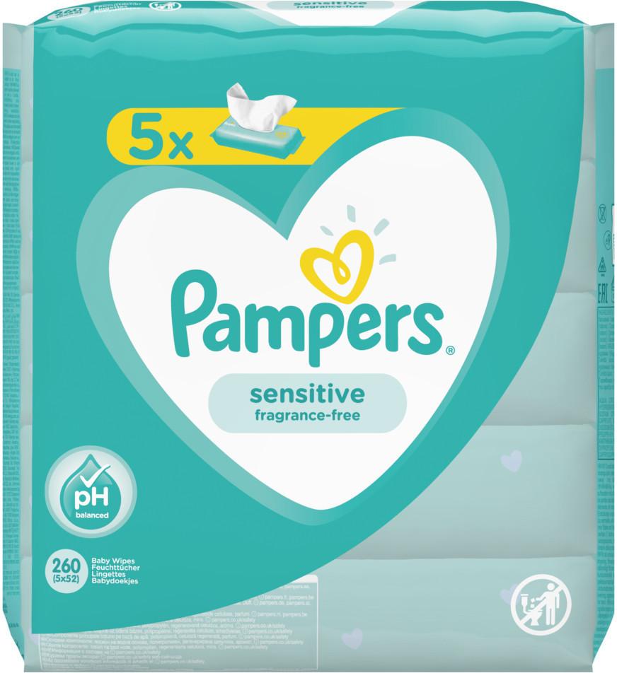 Pampers Sensitive Feuchttücher (5 x 52 Stk.)