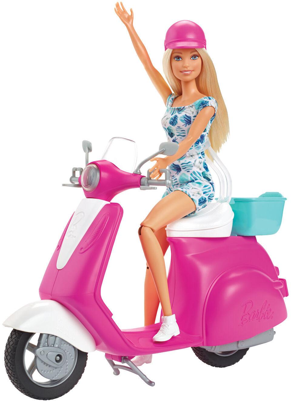 Barbie Pink Passport Puppe und Motorroller (GBK85)