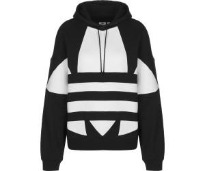 Adidas Large Logo Cropped Hoodie Black White