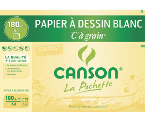 Canson Zeichenpapier C À Grain A4 224 g-qm Inhalt: 12 Blatt (27114)