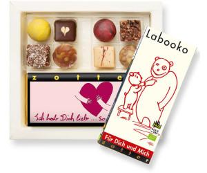 Zotter Biofekt-Set 'Love, Love, Love' 8 Pralinen + 2 Tafeln Schokolade (188g)