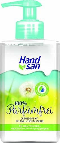 Handsan Seife Cremeseife 100% Parfümfrei Flüssigseife im Spender vegan (300ml)