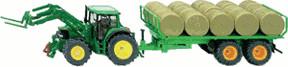 Siku John Deere Traktor mit Rundballenanhänger (3862)