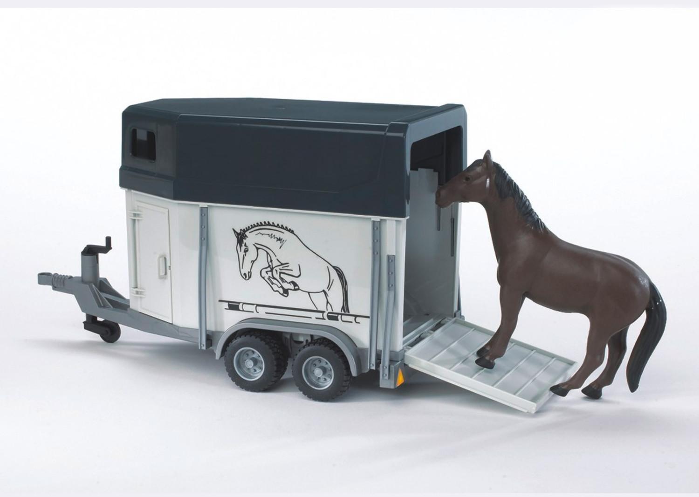 Bruder Pferdeanhänger + Pferd (02028)