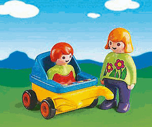 Playmobil 1.2.3 Mum with Baby Carriage (6749)