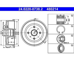 ATE 24.0220-3027.1 Bremstrommel